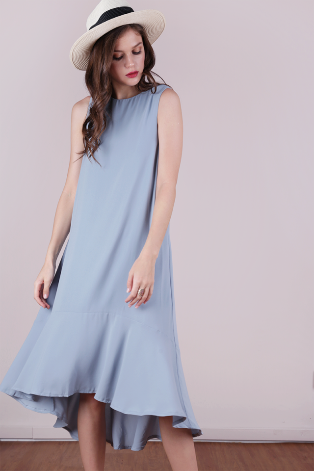 Fiorella Fishtail Dress (Ash Blue)