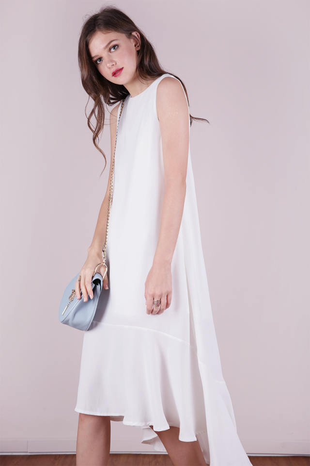 Fiorella Fishtail Dress (White)