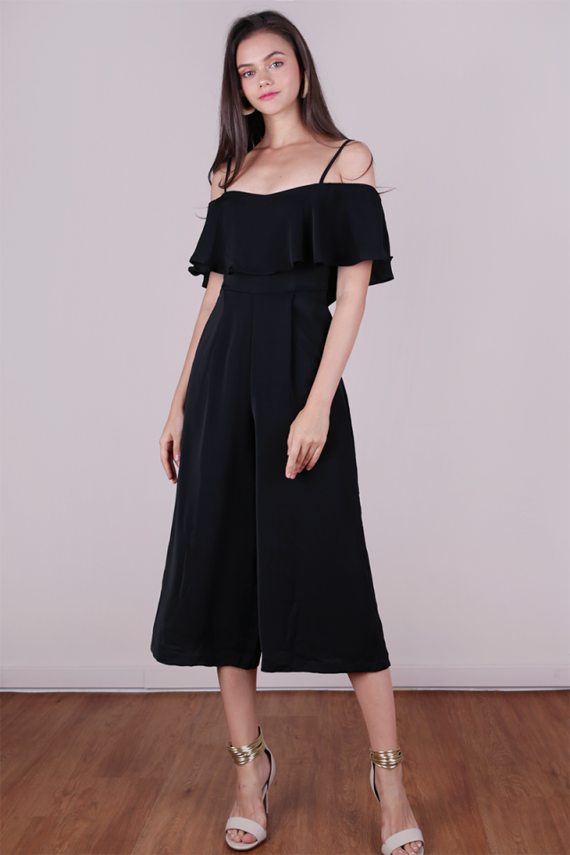Lucca Off Shoulder Jumpsuit (Black)