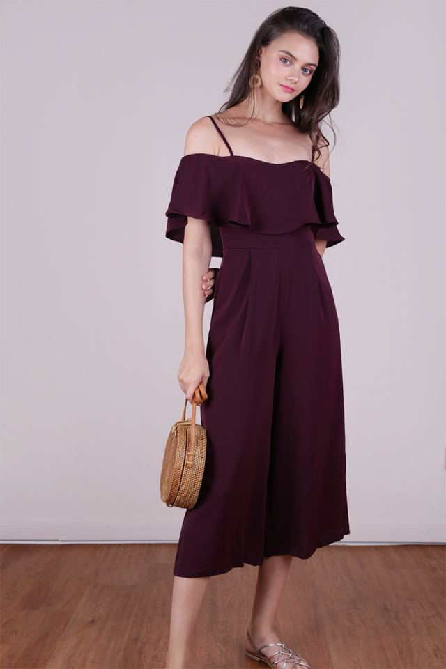 Lucca Off Shoulder Jumpsuit (Plum)