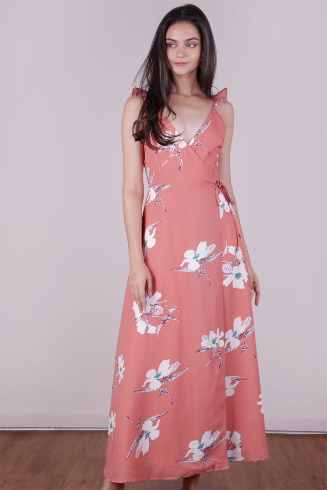Primrose Wrap Front Maxi Dress (Maple Florals)
