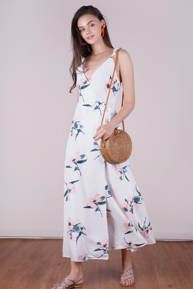 Primrose Wrap Front Maxi Dress (White Florals)