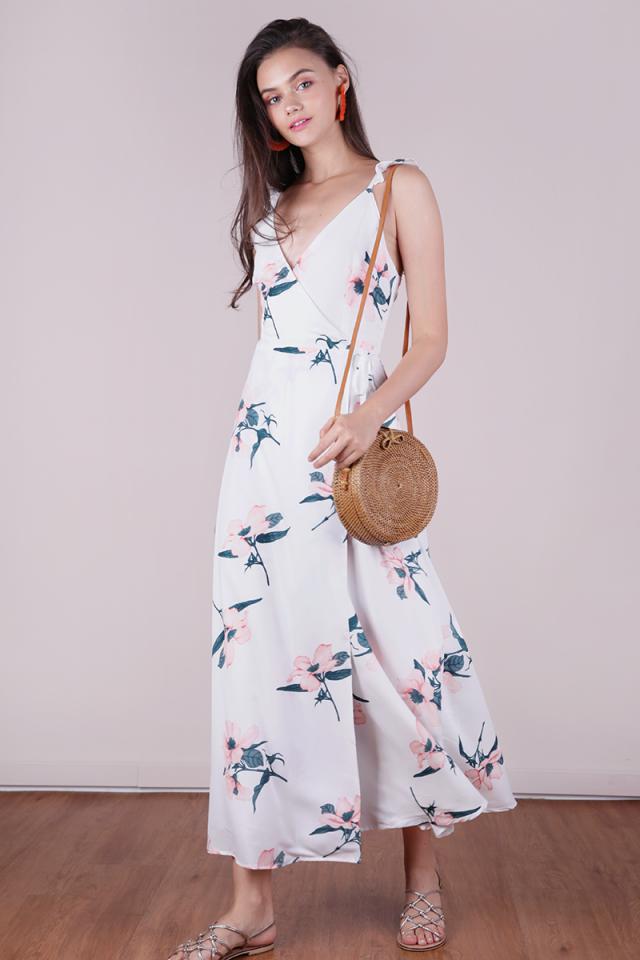 Primrose Wrap Front Maxi Dress (White Florals)