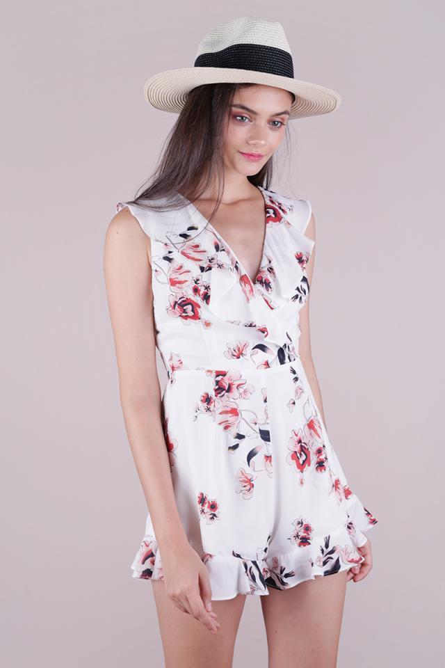 Larisa Ruffles Romper (White Florals)