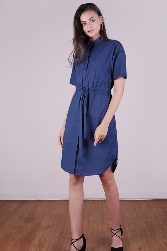 Skye Drawstring Shirtdress (Dusty Blue)