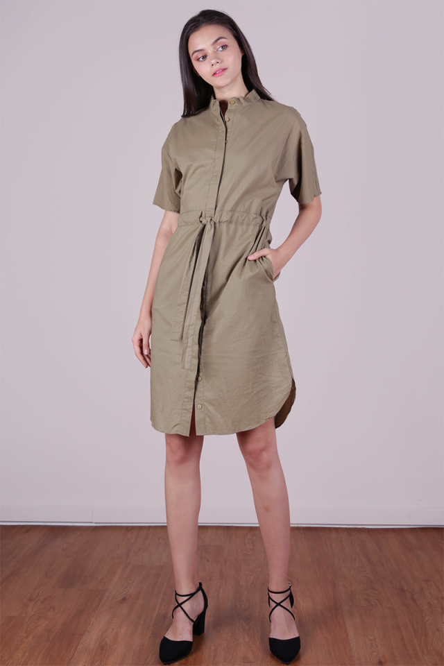 Skye Drawstring Shirtdress (Khaki)