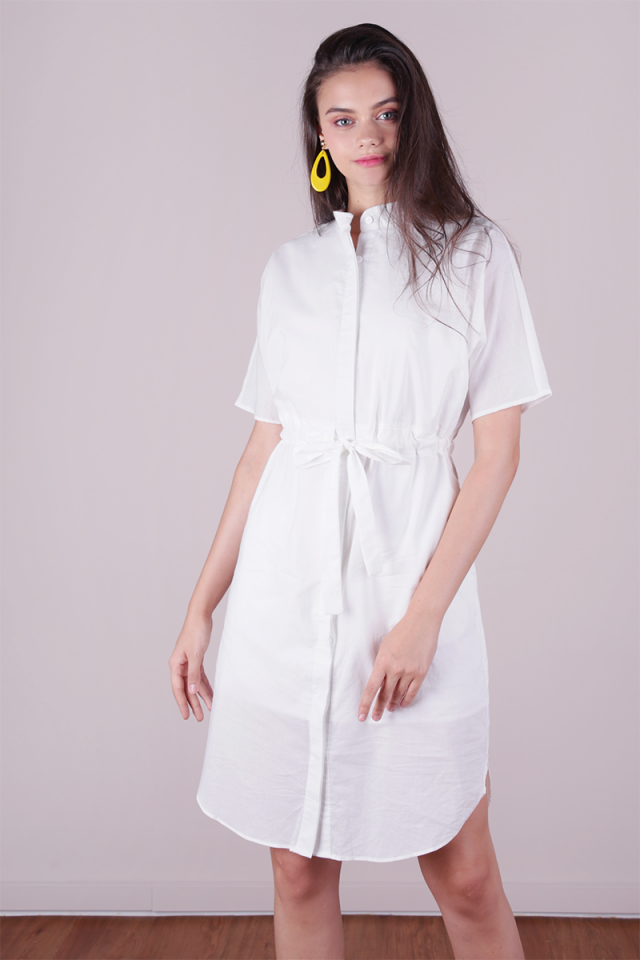 Skye Drawstring Shirtdress (White)