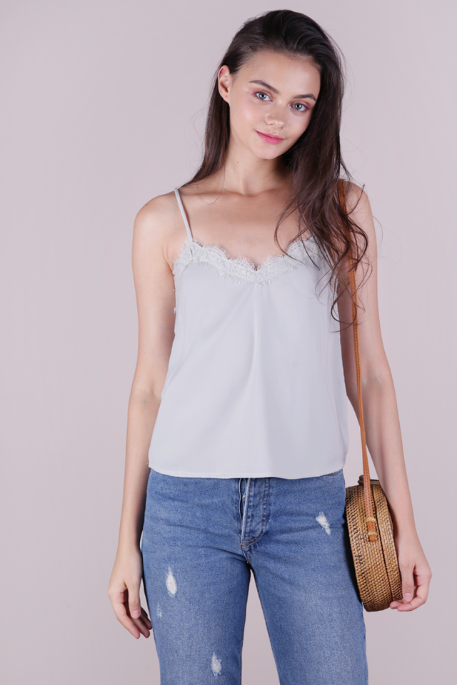 Vinci Lace Spag Top (Grey)