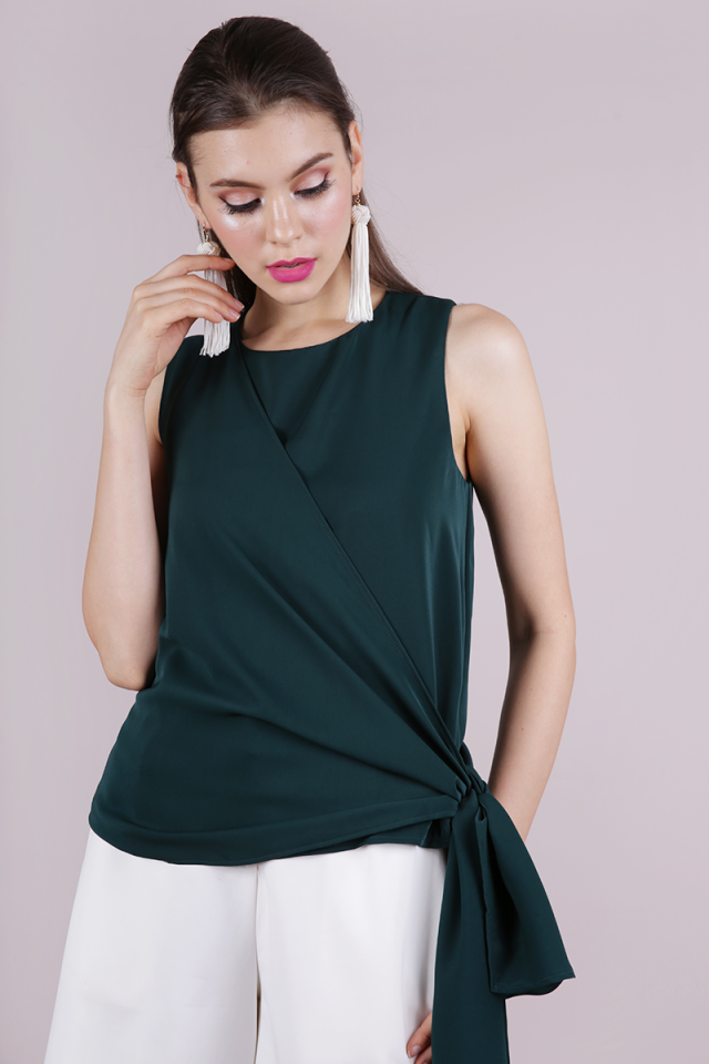 Maisie Tie Side Top (Forest Green)