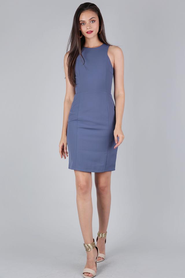 Rynn Sheath Dress (Dusty Blue)