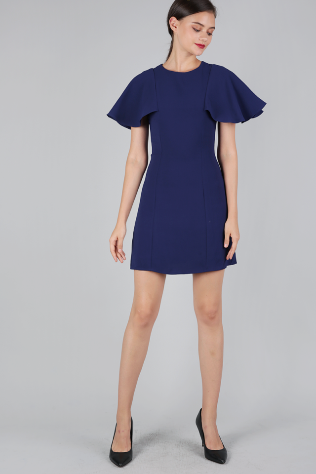 Jory Flutter Dress (Navy)