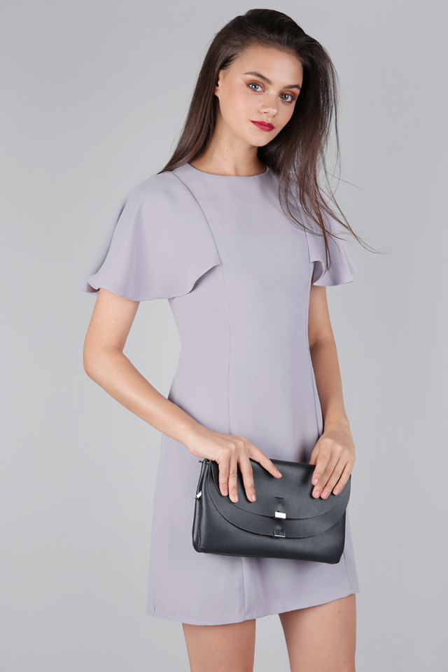Jory Flutter Dress (Lilac Grey)