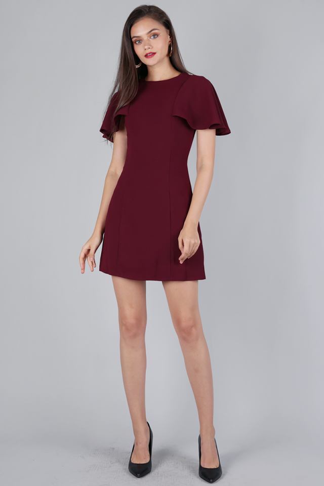 Jory Flutter Dress (Maroon)