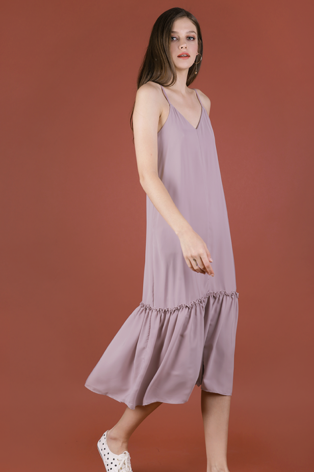 Holly Dip Hem Dress (Mauve Pink)