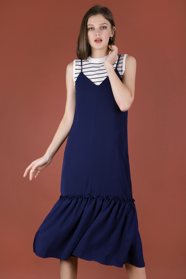 Holly Dip Hem Dress (Navy)