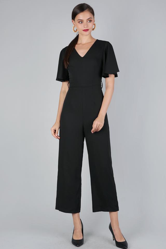 Sal Flutter Jumpsuit (Black)