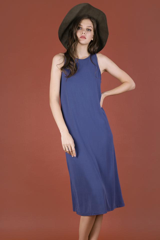Emm Basic Singlet Dress (Dusty Blue)