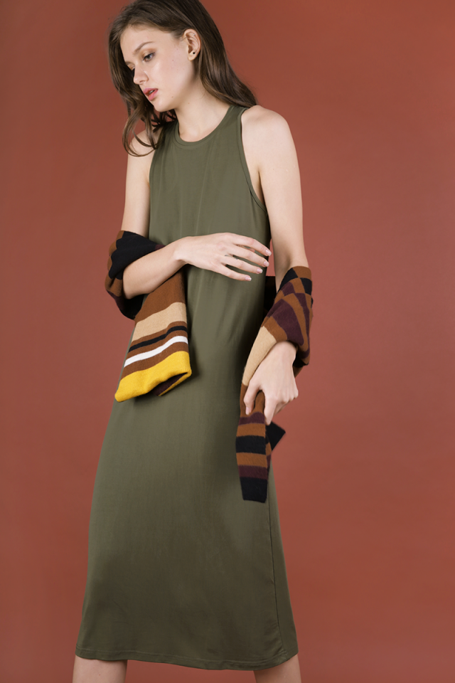Emm Basic Singlet Dress (Olive)