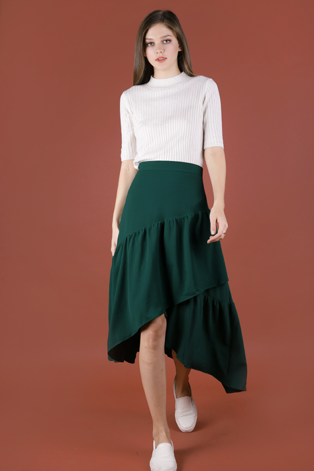 Yule Tiered Skirt (Forest Green)