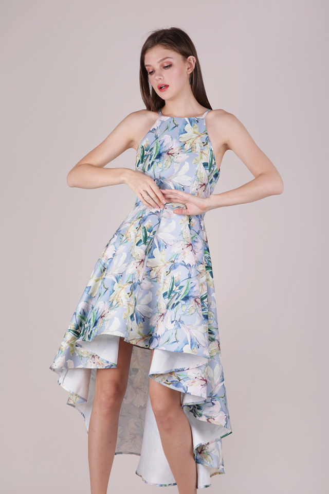 Adora Fishtail Dress (Blue Florals)