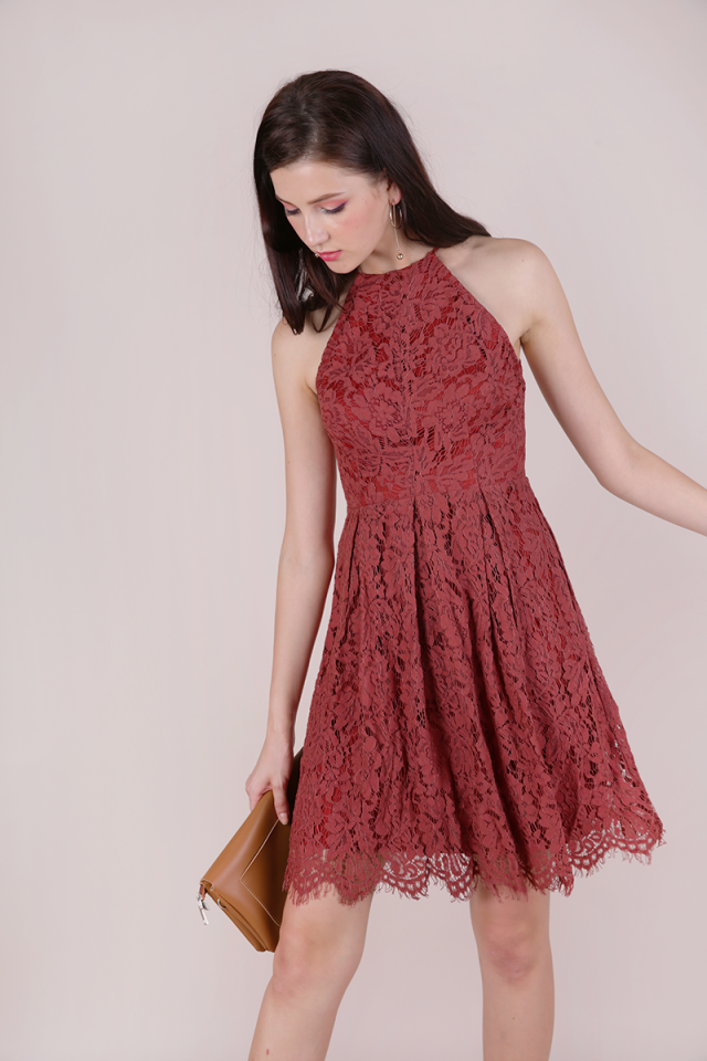 Blossom Halter Lace Dress (Terracotta)