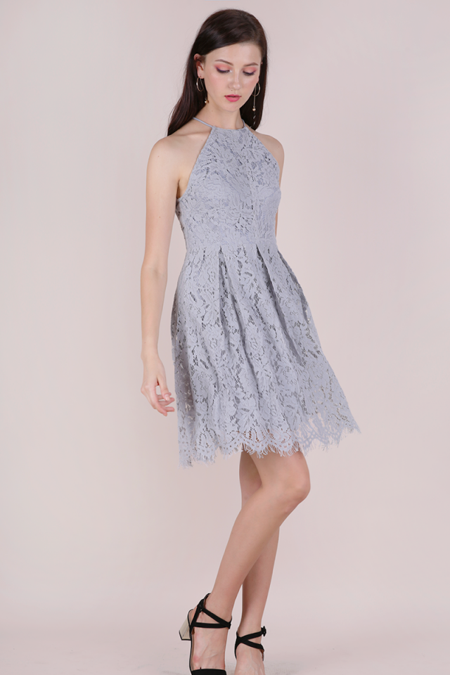 Blossom Halter Lace Dress (Grey)