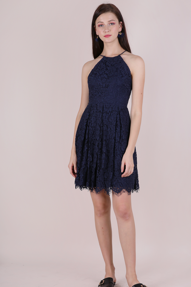 Blossom Halter Lace Dress (Navy)