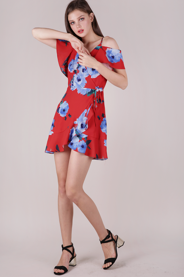 Jesse Wrap Front Dress (Red Florals)