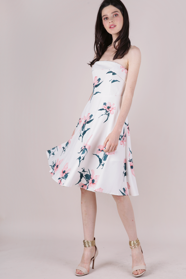 Aimee Tube Flare Dress (White Florals)
