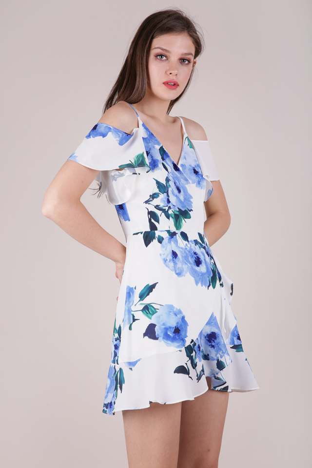 Jesse Wrap Front Dress (White Florals)