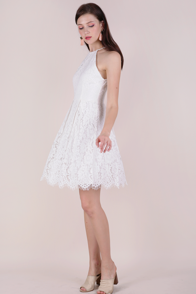 Blossom Halter Lace Dress (White)