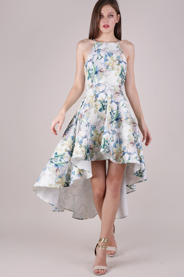Adora Fishtail Dress (White Florals)