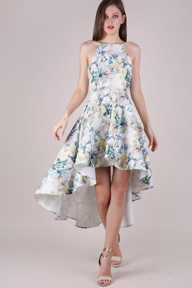 Adora Fishtail Dress (White Florals)