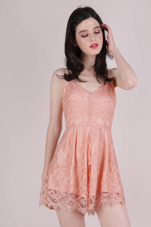 Halia Lace Romper (Peach)