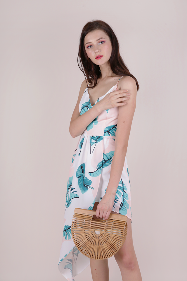Harlyn Asymmetrical Dress (White Palm Print)