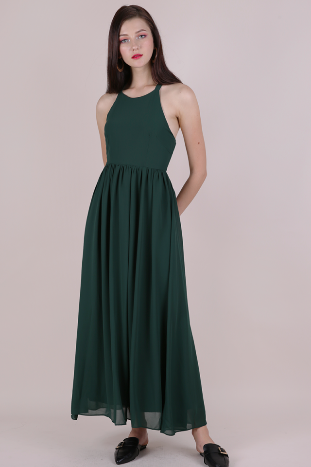Halston Tie Back Maxi (Forest Green)