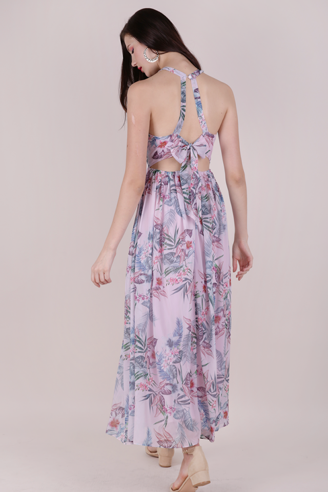 Halston Tie Back Maxi (Pink Tropical)