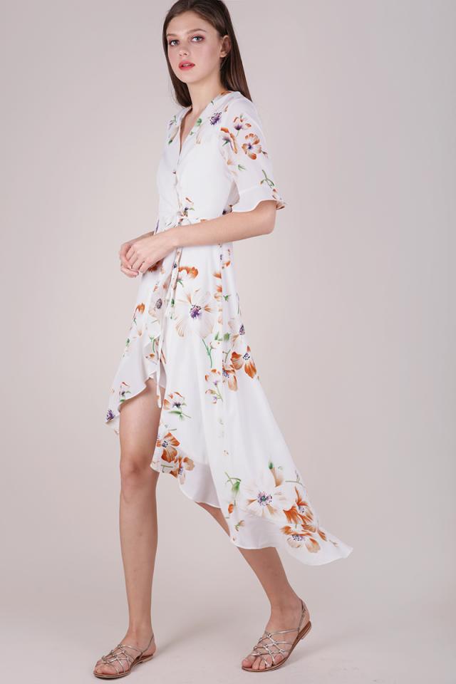 Sage Wrap Front Maxi (White Florals)