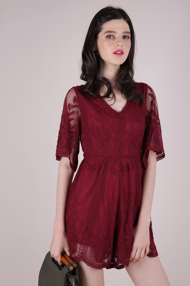 Miki Mesh Embroidery Romper (Burgundy)