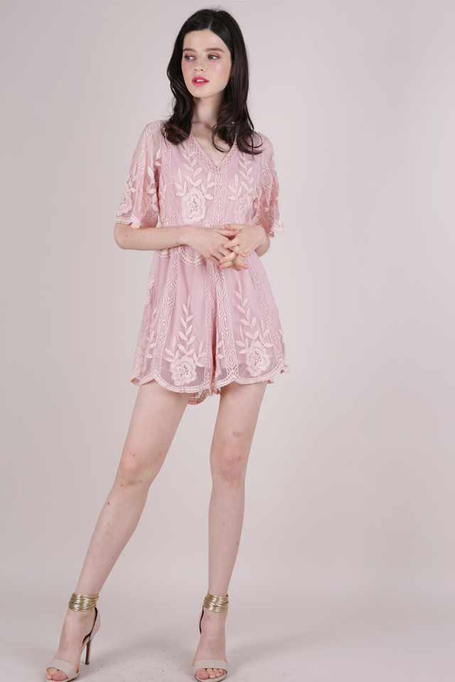 Miki Mesh Embroidery Romper (Blush Pink)