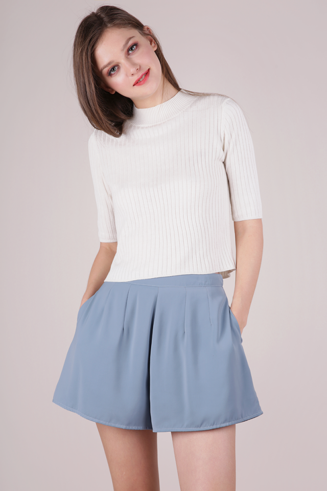 Petal Flare Shorts (Ash Blue)