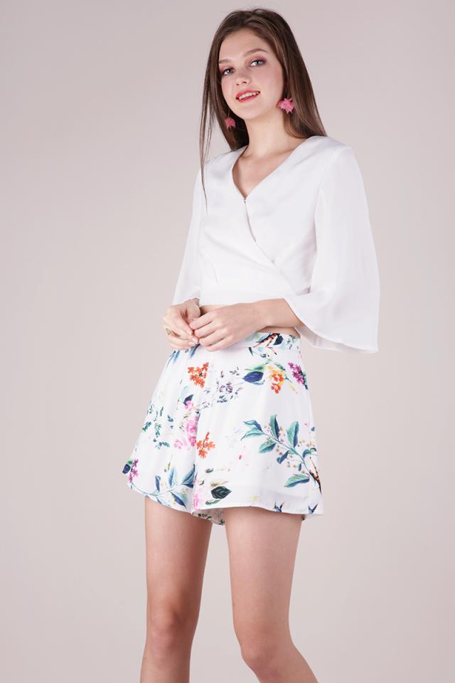 Petal Flare Shorts (White Florals)
