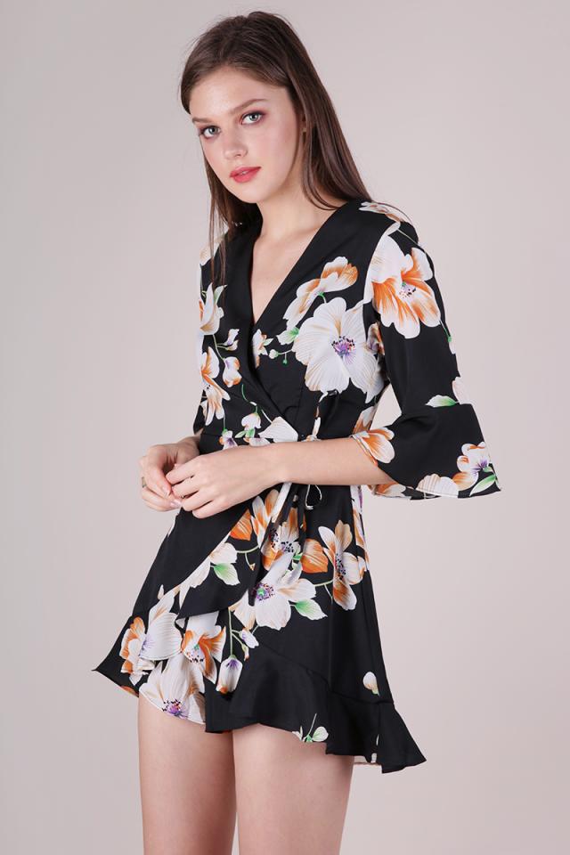 Hyacinth Frilly Romper (Black Florals)