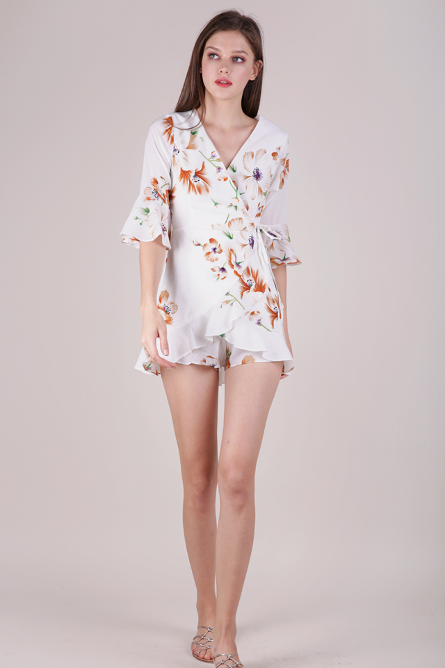 Hyacinth Frilly Romper (White Florals)