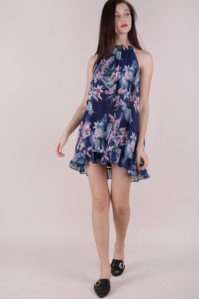 Ellery Trapeze Dress (Navy Tropical)