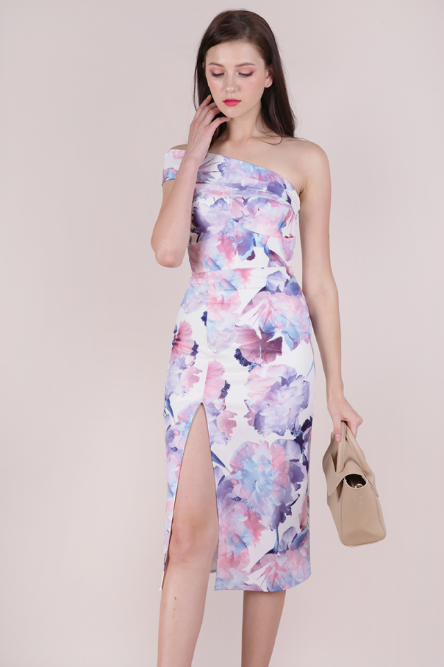 Valentine Toga Dress (White Abstract)