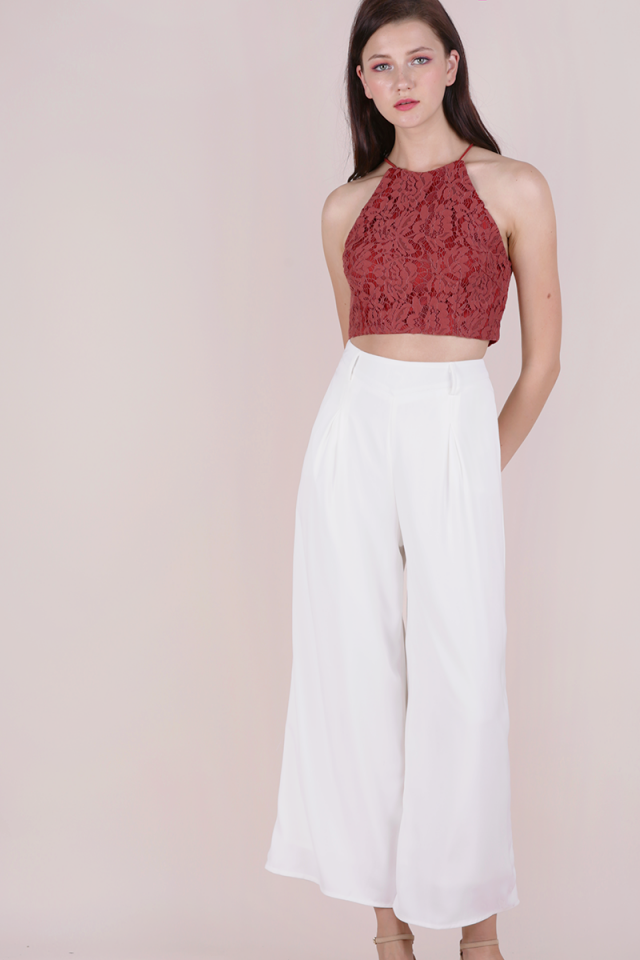 Bloom Halter Lace Top (Terracotta)