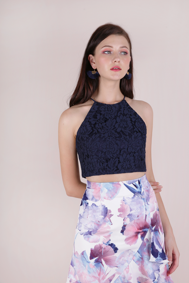 Bloom Halter Lace Top (Navy)