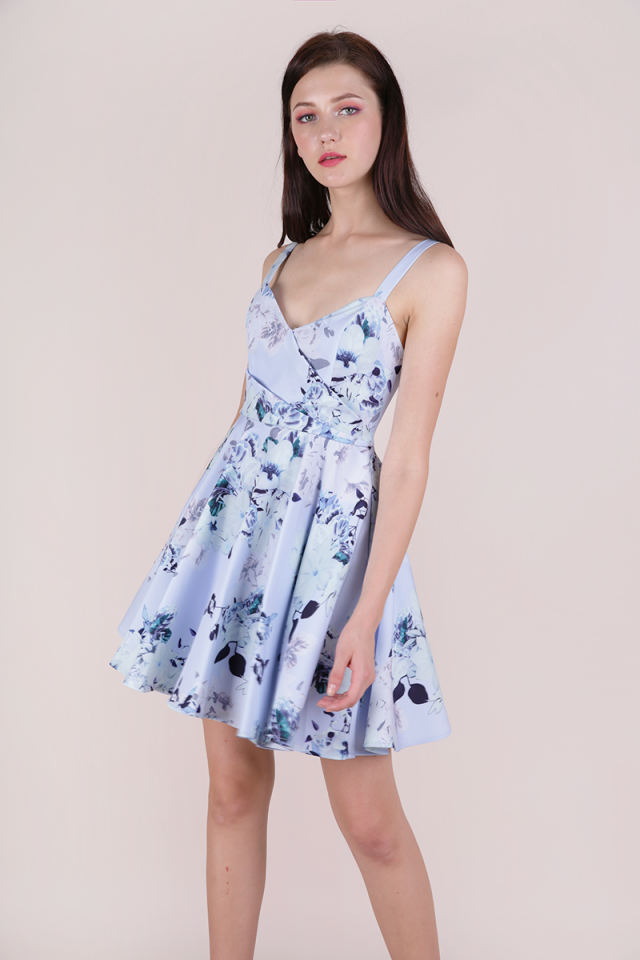Dolce Pleat Front Dress (Periwinkle Florals)