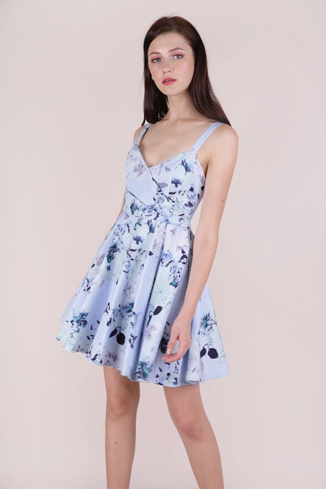 Dolce Pleat Front Dress (Periwinkle Florals)